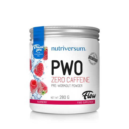 PWO zero caffeine - 280g - FLOW - Nutriversum - málna