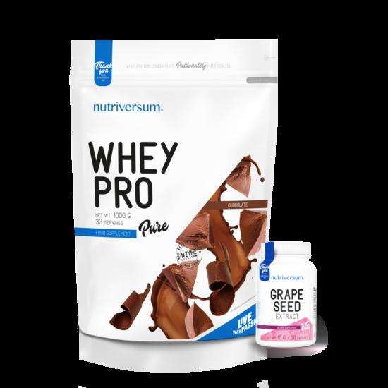 Whey PRO - 1 000 g - PURE - Nutriversum - csokoládé + Grape Seed